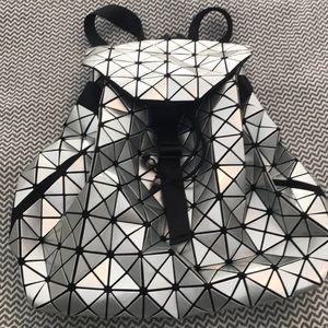 Handbags - Silver geometric tile ladies backpack.